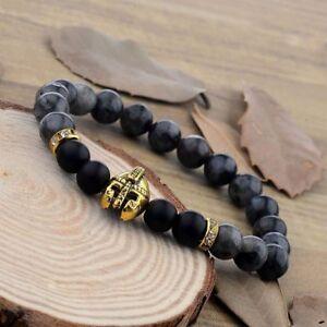 Hot-Sale-Men-039-s-Natural-Black-Gray-Lava-Bead-Gold-Spartan-Helmet-Bracelets-8mm