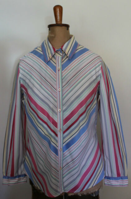 TOMMY HILFIGER ~ White & Colourful Striped Button Down Long Sleeve Shirt ~ L