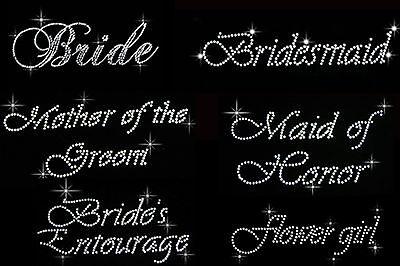 Bride/'s Entourage Glitter Bridesmaid DIY Iron on Vinyl//Rhinestone Transfer