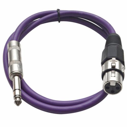 """SEISMIC AUDIO Purple 1//4/"""" TRS XLR Female 2/' Patch Cable"""