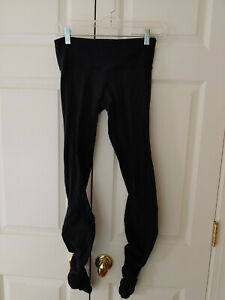 Women-Lululemon-Black-Solid-Rouched-Leggings-Size-4-FLAWS