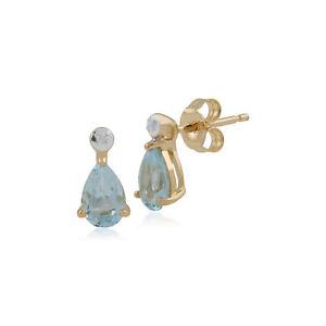 Gemondo-9ct-Yellow-Gold-0-66ct-Aquamarine-amp-Diamond-Pear-Stud-Earrings