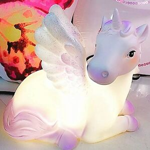 Unicorn-Table-Lamp-LED-Kids-Bedroom-Bedside-Table-Night-Light-Glitter-Wings-Gift