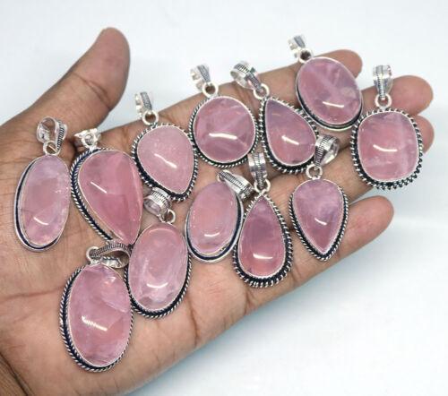 Hermosa Nueva oferta de 50 Piezas De Cuarzo Rosa Natural Gemstone plata plateado colgantes