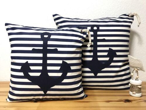 Maritime Kissenhülle Kissenbezug Anker blau//weiß gestreift 50x50cm.