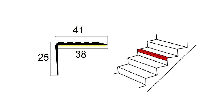 150cm Noir bande de bordure Nez de marche profil d/'angle PVC autoadh/ésif 41x25mm antid/érapant descalier-protection