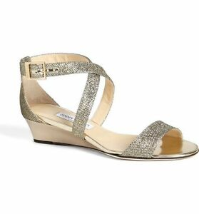 2dd081e5e5e5 NIB  675+ Jimmy Choo CHIARA Strap Light Bronze Glitter Wedge Sandal ...