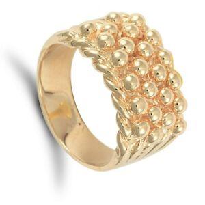 Gelbgold-Keeper-Ring-Herren-4-Reihen-Massive-Schwere-9-Karat-Punziert-Britische
