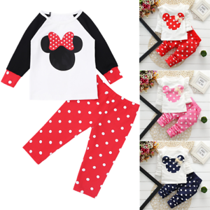 7ca498a09 2Pcs Baby Girl Cartoon Mouse Bow Tops+Pants Outfit Kids Clothes ...