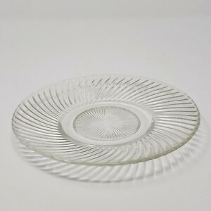 Vintage Clear Depression Glass Ribbed Saucer Pressed w/ Curved Ribs On Underside