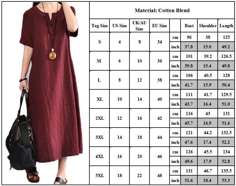 Plus Size Womens Cotton Linen Kaftan Dresses Casual Loose Tunic Shirt Maxi Dress