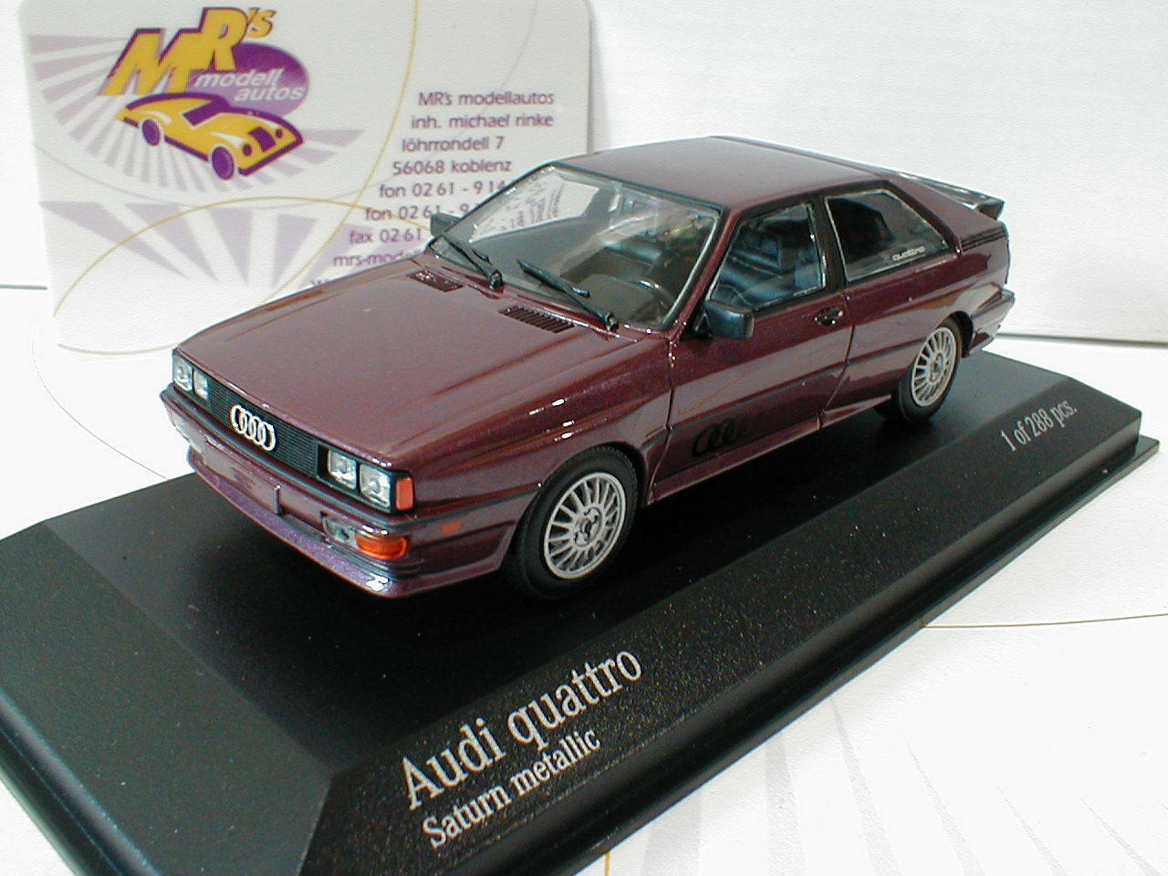 Minichamps 430019429   Audi Quattro Baujahr 1980 in   Saturn metallic   1 43