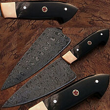 Custom Made Damascus Steel Chef Knife Buffalo Horn Handle