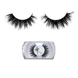 New-Real-Black-Handmade-Naturel-Visage-Cheveux-longs-cils-epais-Faux-cils