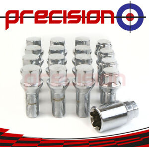 12-Chrome-Alloy-Wheel-Bolts-amp-4-Locking-Nuts-for-BMW-Mini-Cooper-2007-On
