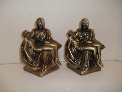 Levering Vintage La Pieta Michelangelo Bookends Gold Brass Tone Cast Metal Easter Decor