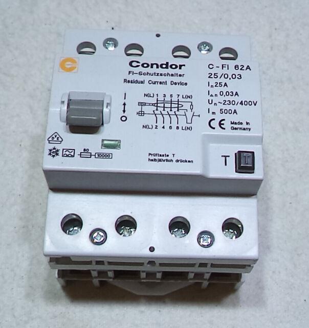 C-FI 62A NEU Condor Fehlerstrom-Schutzschalter 4pol 25A 0,3A FI-Schalter RCD