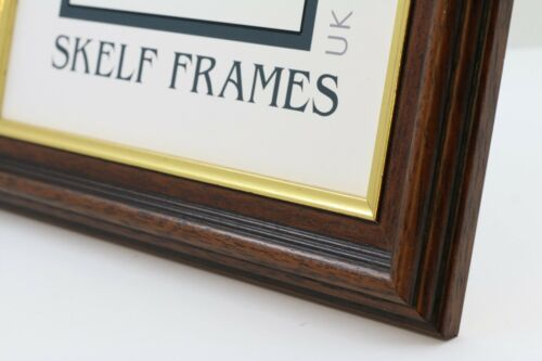 SQUARE PICTURE PHOTO WOOD FRAME with GLASS ~ 35mm DARK WOOD with GOLD INLAY