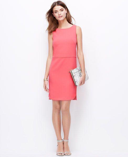 Ann Taylor Pink Salmon Sleeveless Rounded Hem Shift Dress Size 6 Career Wear