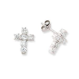 9ct White Gold Diamond Cross Crucifix Stud Earrings