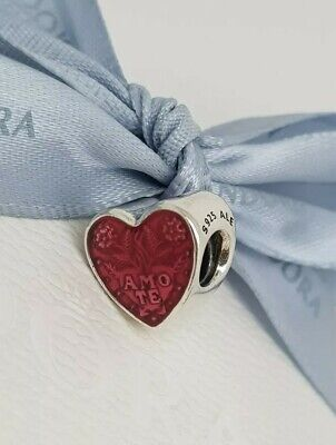 Aurora Blooming Love Red Crystals /& Enamel Heart Sterling Silver Charm Dangle S925 Love Miracle Heart Red Enamel folk art inspired charm