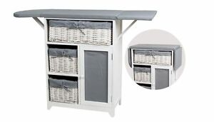 Details About New Ironing Board Storage Unit With Wicker Baskets Foldable Drawers Grey White