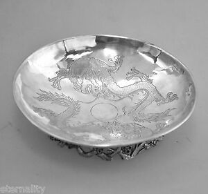 Asia Silver Antique Hung Chong Chinese Export Silver Dragon Pierced Calling Card Tray As Is