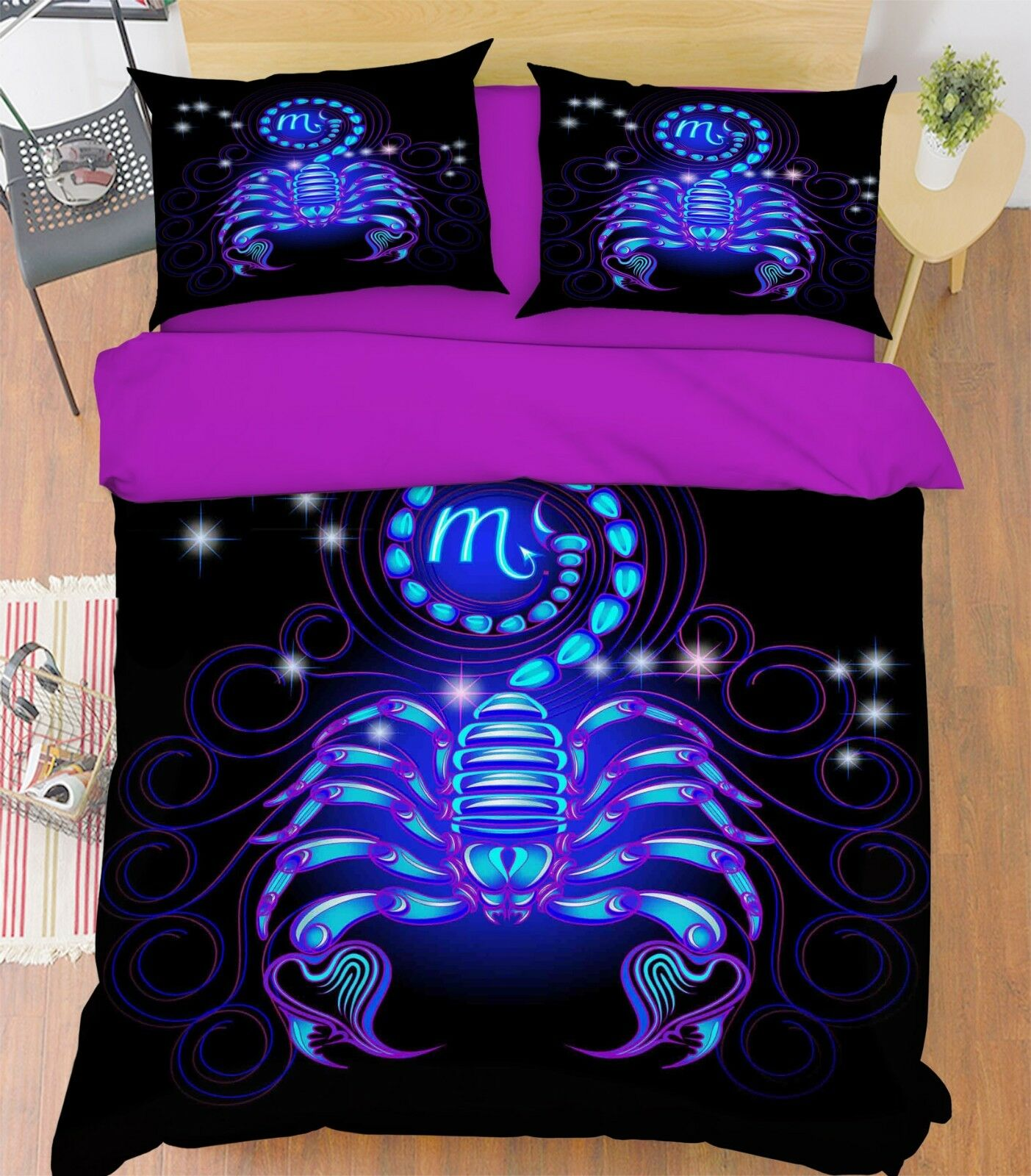 3D Scorpio 45 Bed Pillowcases Quilt Duvet Cover Set Single Queen King AU Cobb