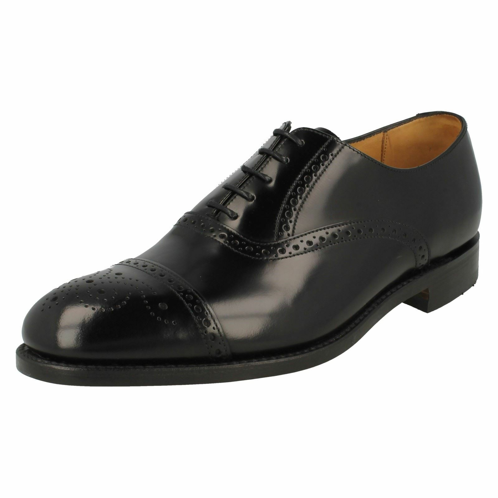 Herren Oban schwarz Leder semi brogue lace up shoe by Loake 18e606