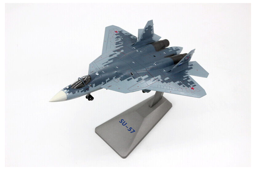 Diecast Model with ALLOY DISPLAY STAND 1:72 Scale Su-57 Fighter Aircraft