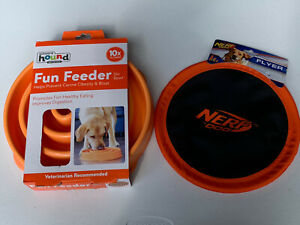 Outward Hound Fun Feeder Slow Feed  Bloat Stop Dog Bowl And Nerf Dog Frisbee