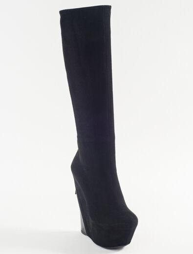 Neu Gianmarco Lorenzi Schwarzes Veloursleder Sexy Keilabsatz Stiefel Größe 40