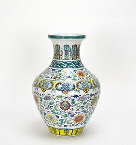 CHINESE-QING-QIANLONG-MK-DOUCAI-FLOWER-FISH-BASKET-PORCELAIN-VASE