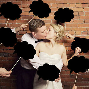 10X-Photo-Booth-Prop-DIY-Bubble-Speech-Chalk-Board-Wedding-Party-Birthday-RT