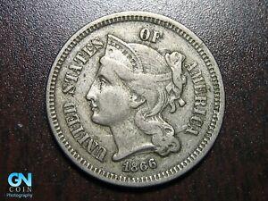 1866 3 Cent Nickel Piece    BETTER GRADE!  NICE TYPE COIN!  #B1346