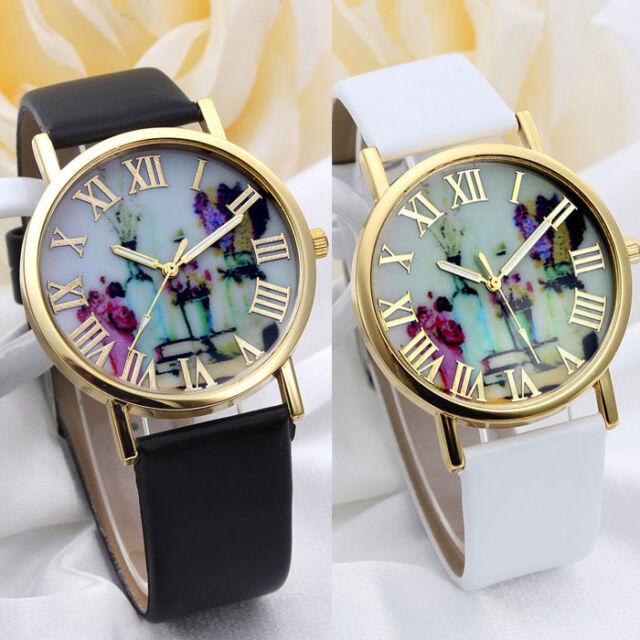 Women Fashion Vases Dial Leather Band Quartz Analog Wrist Watches Cheap