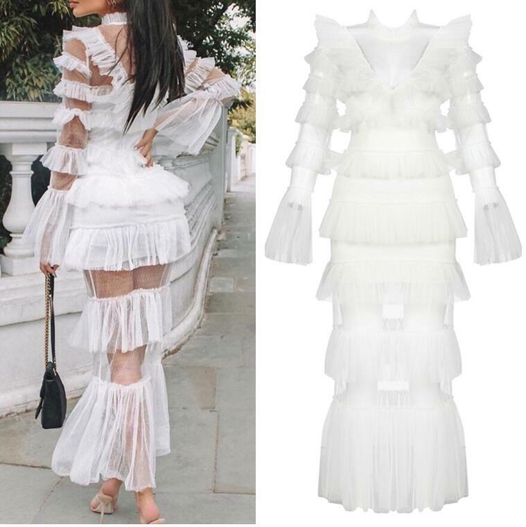 Lady robe de robe de cocktail couches See-through engrener vestidos Luxe Piste dentelle