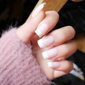 Details about French Acrylic False Nail Tips Full Cover Square White  Pointed Nail Art Manicure