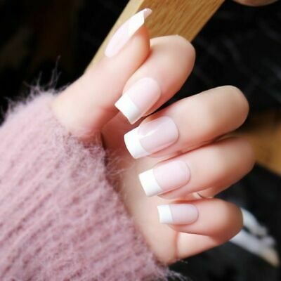 french acrylic false nail tips full cover square white