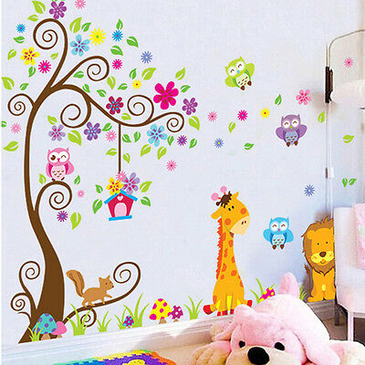 Cartoon Tree Removable Mural Vinyl Decal Wall Sticker Art Kid Nursery Room Decor