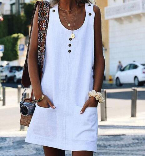 DamenMode Taschen Strandkleid Sommer Strand Minikleid Knöpfe Ärmellos Partykleid