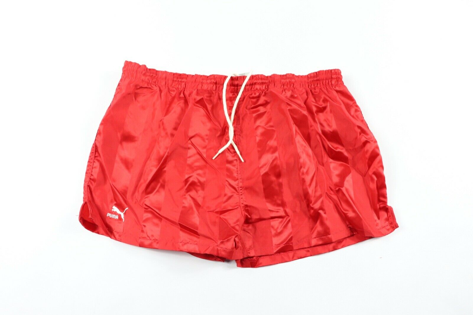 Vintage 90s New Puma Mens Small Spell Out Striped Nylon Lined Soccer Shorts Red