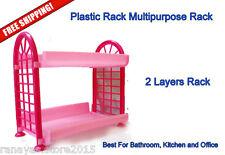 Bathroom Kitchen 2 Layers Soap Storage Shelf Plastic Rack - Bathroom Accessories