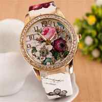 New Ladies Women's Flower Dial Leather Stainless Steel Analog Quartz Wrist Watch