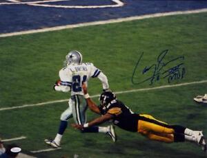 Larry-Brown-Autographed-Dallas-Cowboys-16x20-Running-Photo-W-SB-MVP-JSA-W-Auth