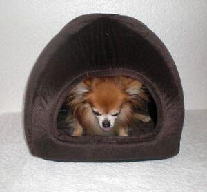 Chihuahua / yorkshire-chien-lit-rêve-câlin-caverne-peluche-velours-look-brun - Nouveau