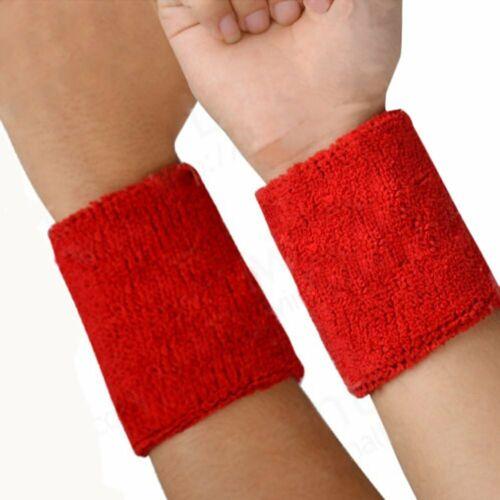 Sports Wrist Sweatbands Unisex Wristband Tennis Squash Badminton Gym Running