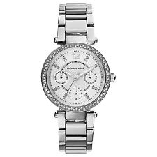 NEW Michael Kors Mini Parker Silver Face Ladies Designer Calendar Watch MK5615