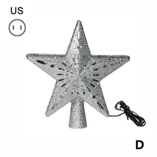 Christmas Tree Topper Gold Star Snowflake Projection Decor Ornaments Home X R7E7