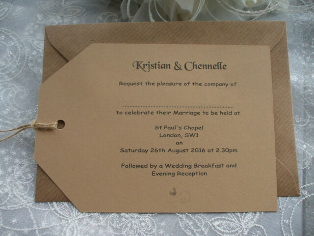 20 x PERSONALISED A6 WEDDING AND/OR EVENING RUSTIC LABEL INVITATIONS